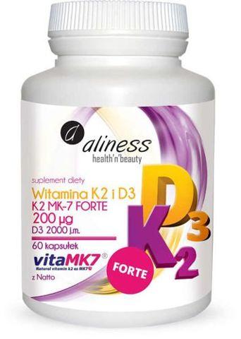 ALINESS Naturalna Witamina K2 Forte MK-7 200µg z Natto + D3 60 kapsułek