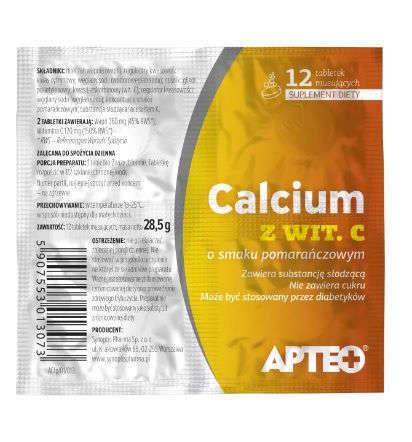 APTEO CALCIUM C folia smak pomarańczowy x 12 tabletek musujących