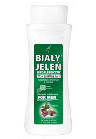 BIAŁY JELEŃ Hipoalergiczny żel & szampon 2w1 for Men z łopianem i nano-proteinami 300ml