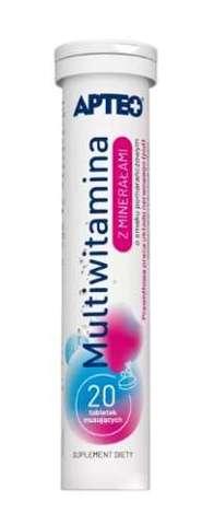 MULTIWITAMINA z minerałami Apteo smak pomarańczowy x 20 tabletek musujących