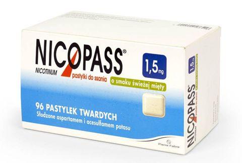 NICOPASS 1,5mg x 96 pastylek do ssania o smaku świeżej mięty