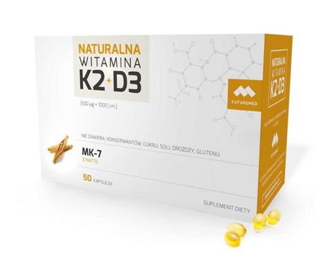 Naturalna Witamina K2 100mcg (MK-7) + D3 1000 j.m. x 50 kapsułek