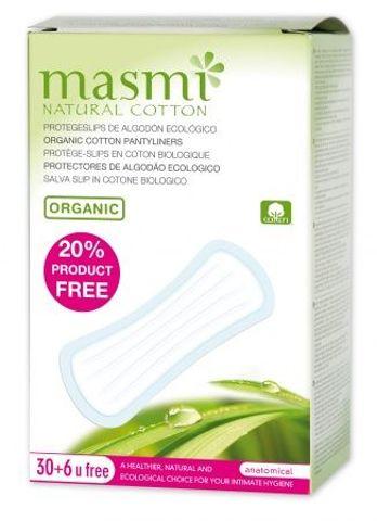Wkładki higieniczne o anatomicznym kształcie -100% bawełny organicznej x 30sztuk