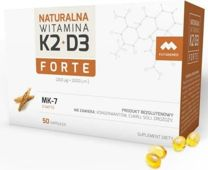 Naturalna Witamina K2 200mcg (MK-7) + D3 2000 j.m. Forte x 50 kapsułek