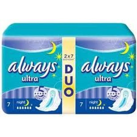 ALWAYS ULTRA NIGHT Duo Podpaski 2 x 7 szt.