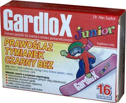 GARDLOX JUNIOR x 16 pastylek do ssania smak pomarańczowy