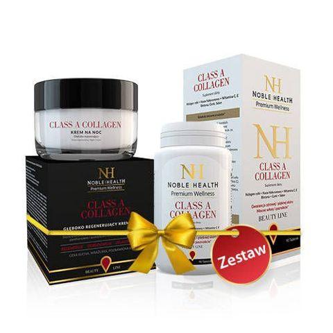 ZESTAW Noble Health Class A Collagen x 90 tabletek + Beauty Line Class A Collagen krem na noc 50ml